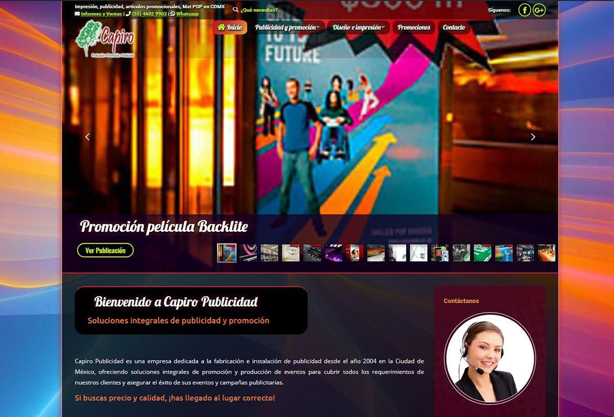 Catálogo de servicios Capiro Publicidad - portafolio Abix Websites